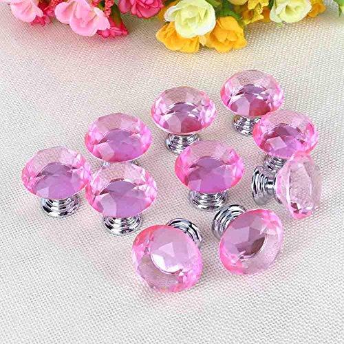 Glas Kristall Knöpfe, 10030mm Diamant Kristall Glas Knöpfe Schrank Schublade Tür Pull Griff mit Schraube für Schublade Schrank Möbel Küche Home Dekorieren, Pink - Glas Schrank Tür Schublade