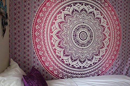 Tradicional tapiz de mandala indio, hippie, para colgar en la pared, colcha de algodón bohemio., tela, morado y rosa, Queen(84x90 Inches)(215x230 Cm)