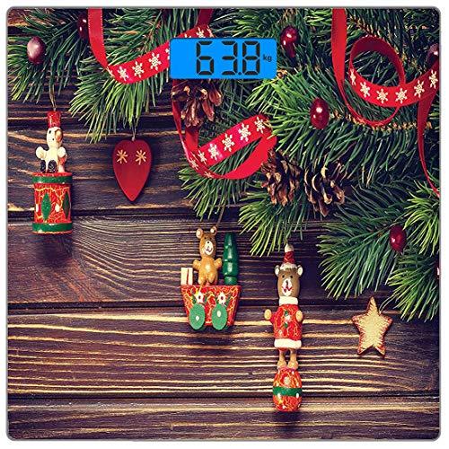 dy Weight Scale Weihnachten Ultra Slim Gehärtetes Glas Personenwaage Genaue Gewichtsmessungen, Rustikale Holz-Hintergrund Dezember Old Christmas Noel Time Thema Ribbon Print, Beige ()
