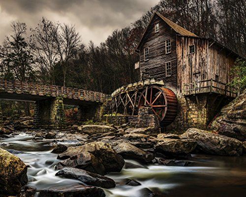 Utah Nature Photography Poster Serie 3, 16 x 20 cm 16x20 Inch Unframed Old Grist Mill with Water Wheel Old Grist Mill