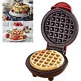 Augproveshak Mini wafelijzer machine, elektrische pannenkoekmachine, antiaanbaklaag, diepe kookplaten, klein wafelijzer voor