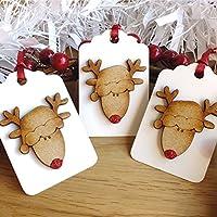 3 x Luxury Wooden Christmas Gift Tags, Rustic Handmade Cute Rudolph Reindeer Hang Tags Red