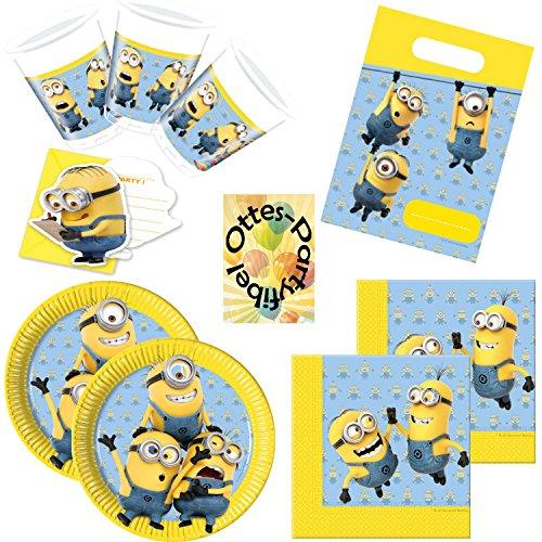 HHO Lovely Minions Partyset 76lg. für 12 Kinder Teller Becher Servietten Einladungen Mitgebseltüten (Party-einladungen Minion Geburtstag)