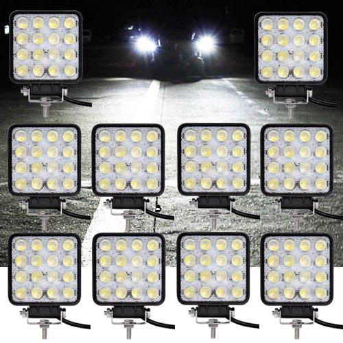 VINGO® 10X 48W LED Arbeitsscheinwerfer Flutlicht Offroad Scheinwerfer kaltweiß 6500K, 4320lm, Traktor Arbeitsleuchte Test
