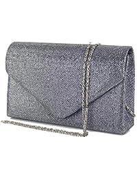 b7d3a62ed1 Emila Pochette eleganti da cerimonia glitter clutch donna borsa piccola  gioiello argentata dorata nera rigida da