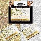 TATTOO ID DORE ARGENTE tatouage ephemere temporaire hypoallergénique Fabriqué en FRANCE. 2 planches