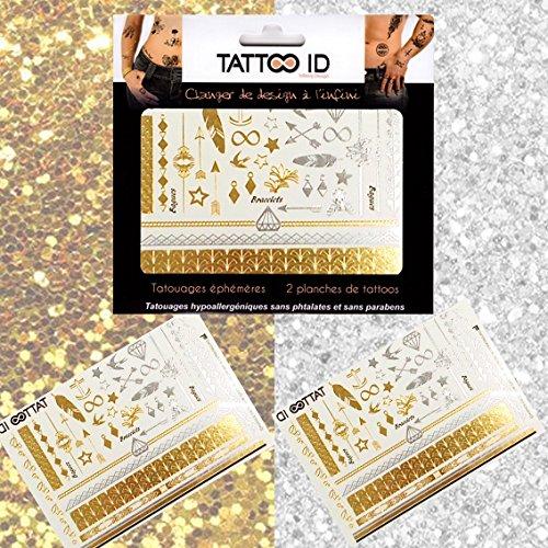 TATTOO ID DORE ARGENTE tatouage ephemere temporaire hypoallergénique Fabriqué en FRANCE. 2 planches Femme
