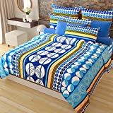 Home Candy 100% Cotton Elegant Blue Circles Double Bed Sheet with 2 Pillow Covers
