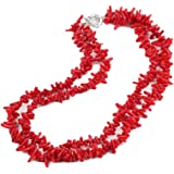 TreasureBay Collana da donna con doppio filo di corallo rosso