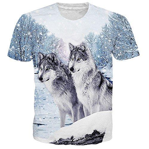 (Idgretim Frauen Männer 3D gedruckt Zwei Wolf T-Shirts)