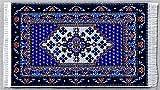 Miniatur Teppich, reines Polyester für Krippe, Puppenhaus, weiß/blau 12x6,5 cm