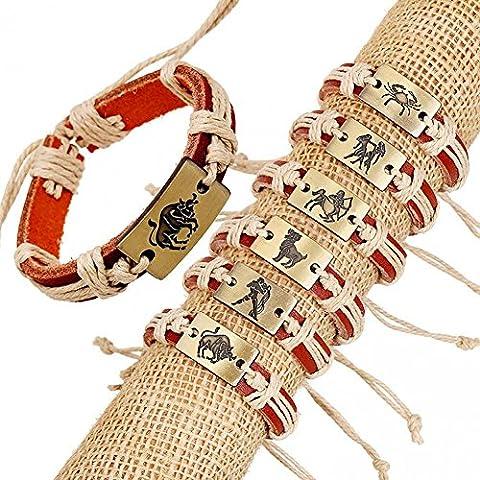Bling fashion Whol 12Mix di colori in pelle punk rock i segni del zodiaco braccialetto in pelle lb1576