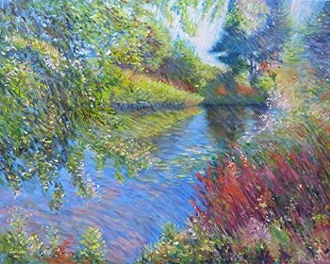 Fluss-Szene - 50 cm x 40 cm, impressionistischen Stil Malerei des River Stour, semi-abstrakt, zeitgenössische, einzigartige Gemälde, schöne Farben.