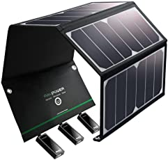 RAVPower, Solar Charger Pannel with Triple USB Ports Foldable Portable High Efficienc for iPhone, iPad, 24W Power, (LYSB06XBGSS2R-ELECTRNCS, Black)