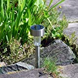 Pack of 10 Solar Powered Rechargeable Stainless Steel Garden Post Lights