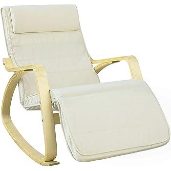 SoBuy® FST16-W Neu-Schaukelstuhl (verstellbares Fussteil) Schwingsessel Relaxsessel beige