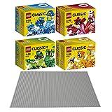 LEGO Classic 5er Set 10706 10707 10708 10709 10701 Kreativ-Boxen Blau, Rot, Grün & Orange + Grundplatte Grau