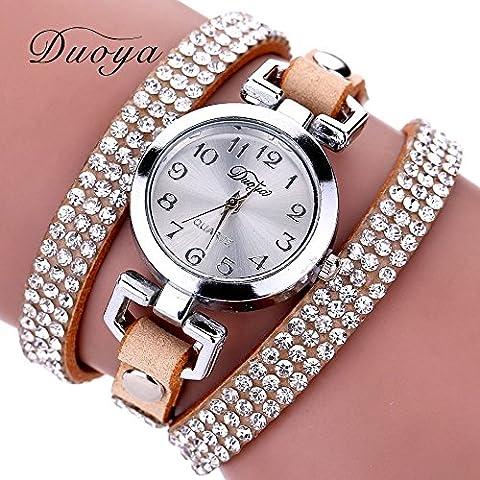 Nusey (TM) in pelle con strass 2016 New Luxury intorno braccialetto da polso delle donne vestono la vigilanza della vigilanza dell'orologio della signora Vintage orologio al quarzo