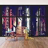 Foto Mural–Ventana Vista Times Square por la noche–Autoadhesivo Papel pintado, función, wall-art, papel pintado murales, fotografía, ciudades y viajes, ciudad, Nueva York, ciudades noche, América, Nueva York, paseos y opiniones, Dimensión HxW: 270cm x 432cm
