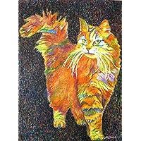 Wildkatze - handgemaltes Originalbild, Katze Kater Katzenbild