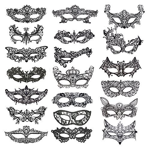 Keriber 20 pezzi maschera di pizzo mascherata maschera veneziana eyemask halloween maschera merletta sexy per halloween per halloween masquerade palla di costume del partito di carnevale, nero