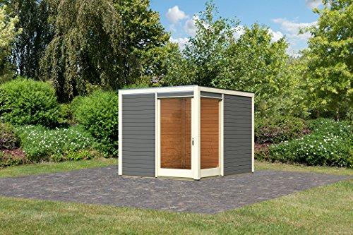 Karibu Gartenhaus Cubus Eck 1, terragrau