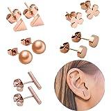 EQLEF Perno Orecchini, Piccolo orecchino in Acciaio Inossidabile con Perno in Oro Rosa Set orecchino per Donna con 5 Paia