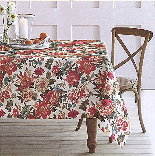 En Vogue Herbst Floral Tischdecke in Reds, 60-by-84Zoll Länglich rechteckig