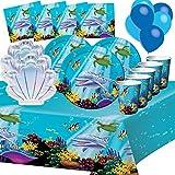 Générique Feste Ocean Sea Fund Festival 8 Bambini Anniversario Tavolo Tavolo Tavolo Tavolo Tavolo 1 tovaglia 8 Piatti di 23 cm 2 Piatti a Forma di Conchiglia 8 Tazze 16 tovaglioli