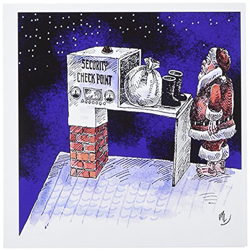Santa 2 Stück Set (3dRose VAL Grußkarten, Motiv Santa Security Checkpoint - 15 x 15 cm, 12 Stück (gc_2827_2))
