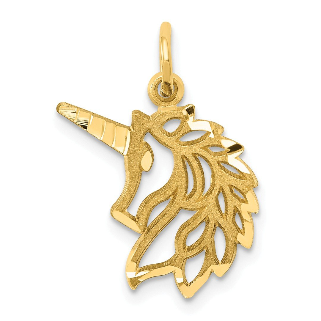 14k Yellow Gold Unicorn Head Pendant Charm Necklace Animal Fine Jewellery For Women Gifts For Her