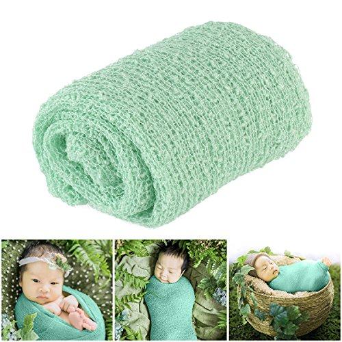 OULII Longue ondulation Wrap, des accessoires de BRICOLAGE bébé nouveau-né Photographie Photo Wrap-bébé (vert menthe)