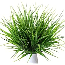 MIHOUNION 4pcs Plantas verdes artificiales de plástico hojas falsas plantas de simulación decoración hogar cocina oficina jardín