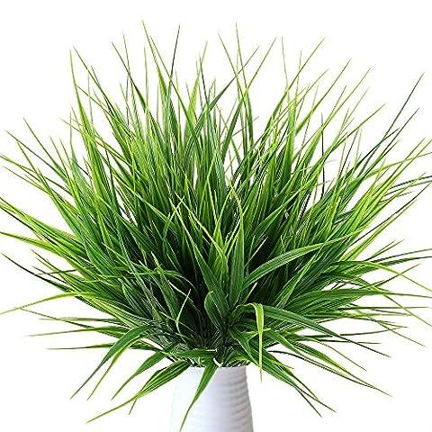 MIHOUNION 4 Bündel Kunstpflanzen Gesamthöhe ca 36,5 cm Dekogras Immer Grün Künstlicher Grasbund für Innen Ourdoor House Garten Perfekte