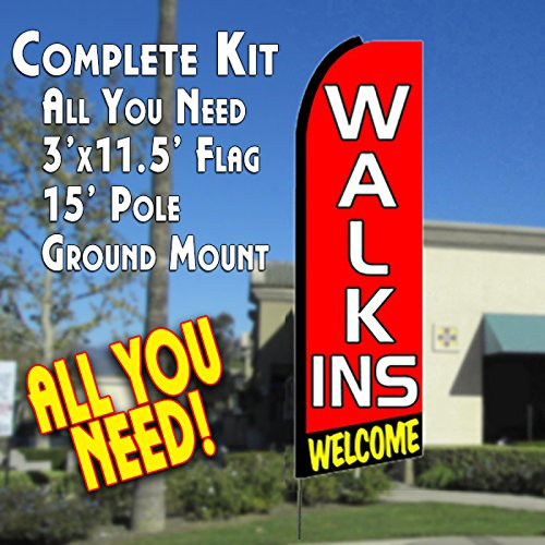 walk-ins Welcome (rot/schwarz) Flutter Feder Banner Flagge Kit (Flagge, Pole, & Boden MT)