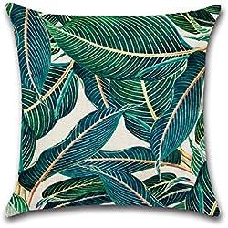 Doitsa Kissenbezug 45*45cm Kissenbezüge Sofakissen Kissenhülle Zuhause Dekor für Schlafzimmer Sofa Auto,tropische Pflanzen Muster (3)