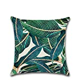 Cosanter Tropische Pflanzen Blätter Muster Kissenbezug kissenhülle Kopfkissenbezug Bettkissenbezug Pillowcase 45 x 45cm aus Baumwolle