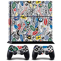 StickerBomb Car Company Logos Print PS4 PlayStation 4 Vinyl Wrap / Skin / Cover / Pegatina para Sony PlayStation 4 Console y PS4 Controllers