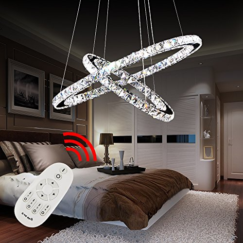 Hengda® Hängeleuchte Deckenlampen Mit 2 LED Ring Kronleuchter Kristall Hängelampe   64W Dimmbar Lichtfarben Wechselbar   rund Wohnzimmerlampe Schlafzimmerleuchte   für Flur Büros Garderobe - Leuchten -