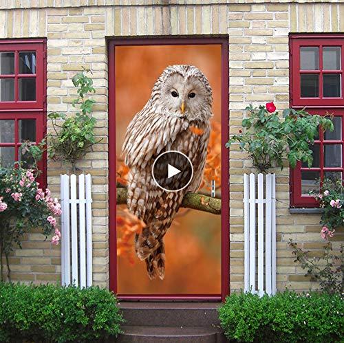 Tür-Wand-Papier-Wandbild Cartoon Eule Vogel Baum Kunst Dekor Kinder Kind Baby Schlafzimmer Wohnzimmer Dekoration Tapeten Aufkleber DIY Decor