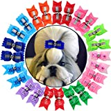 HOLLIHI 24pcs / 12 Pairs Adorable Grosgrain Ribbon Pet Dog Hair Bows with Rubber Bands - Puppy Topknot Cat Kitty Doggy Grooming Hair Accessories Bow knots Headdress Flowers Set for Groomer