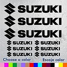9 PEGATINAS LOGO MOTO SUZUKI (3 Logos y letras SUZUKI de 16 cm x 3,3 cm. y 6 Logos y letras SUZUKI de 7 cm x 1,5 cm)VINILO ADHESIVO VINIL STICKER DECALS AUFKLEBER