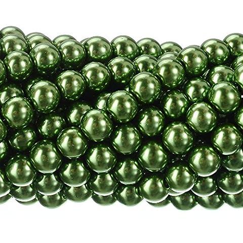 RUBYCA 200Pcs Czech Tiny Satin Luster Glass Pearl Round Beads DIY Jewelry Making 8mm Light Olivine