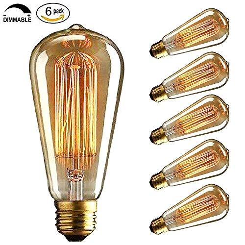 CMYK 40w Vintage lampadina - con gabbia filamento (vecchio Edison) Vite E27--confezione da 6