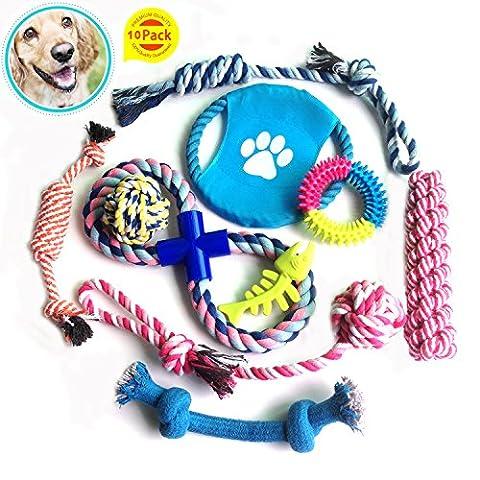 Hund Seil Spielzeug LANGLEBIG Funny Baumwolle Spielzeug-Set 10Pack für kleine und mittelgroße Hunde Hund Puppy fucnen stabiles Wunderbare Vielfalt Mix bis Kauen Spielen Spielzeug für Welpen Happy Weihnachten Geburtstag Geschenke
