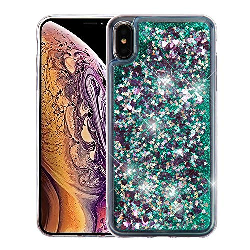 Case+ Tempered Schutzhülle für Apple iPhone XS Max/XS Plus MYBAT Herzen und Grün Quicksand Hard Faceplate