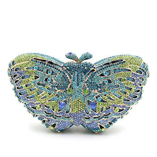 Von Frauen bevorzugten Strass bunten Schmetterling Abend Tasche Tasche Handtasche D