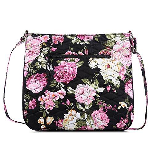 Einkaufstasche Damen Tote Cross-Body Large Capacity Geldbörse Reise Strand Umhängetasche, Rosa Blume ()