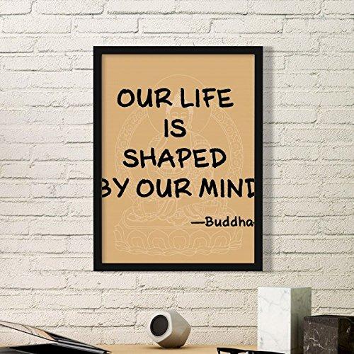 DIYthinker Das Leben ist geprägt von Geist Buddha-Zitat Buddhismus Kunst Malerei Bild Foto Wooden Rectangle Rahmen Ausgangswand-Dekor-Geschenk Medium Schwarz