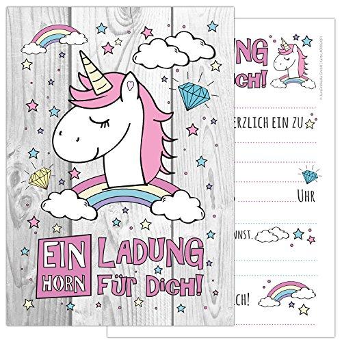 ORN mit einem niedlichen, süßen Einhorn, Regenbogen und Wolken - Kindergeburtstag-Einladungskarten für die Geburtstags-Party in rosa und zartem pastel, ideal für Mädchen (Geburtstag Spiele Für Mädchen)
